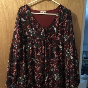 JODIFL Maroon Floral Dress/Tunic/Shirt